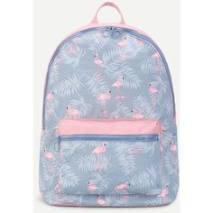 SheIn(sheinside) Flamingo Print Pocket Front Canvas Backpack (19 AUD) ❤ liked on Polyvore featuring bags, backpacks, multicolor, day pack backpack, pocket backpack, canvas knapsack, canvas rucksack and blue canvas bag