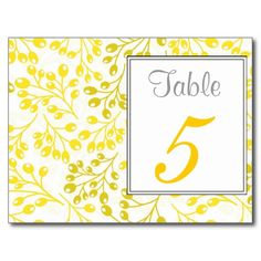 Cute yellow autumn fruits Table Number Postcard