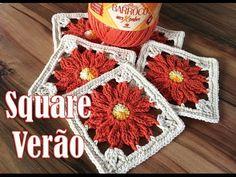 "Square de crochê - Flor do Sol ""Soraia Bogossian"" - YouTube"
