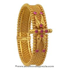 4 Antique Gold Kada Bangles from Prince Jewellery ~ South India Jewels Gold Bangles Design, Gold Jewellery Design, Gold Jewelry, Bridal Jewellery, Antique Jewellery Designs, Antique Jewelry, Antique Necklace, Schmuck Design, Indian Jewelry