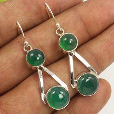 925 Sterling Silver Jewellery Natural GREEN ONYX Gemstones Marvellous Earrings #Unbranded #DropDangle
