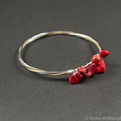 Guitar and Cello String Bracelet with Coral Stones by SrokaOnline