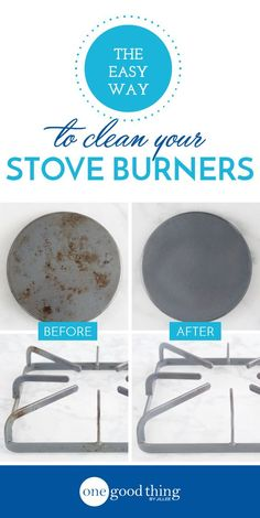 Learn how to clean those tough, baked-on messes on your stove burners and burner pans. This method couldn't be more simple, and no scrubbing is necessary!
