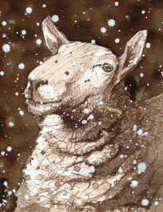 ZsaZsa Bellagio – Like No Other: A little sheepish. : ZsaZsa Bellagio – Like No Other: A little sheepish. Sheep Paintings, Animal Paintings, Animal Drawings, Drawing Animals, Illustrations, Illustration Art, Farm Animals, Cute Animals, Simpsons Artist