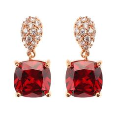 JASSY® Ruby Rose Gold Earrings