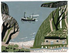 The Marine Walk - linocut print by Melvyn Evans