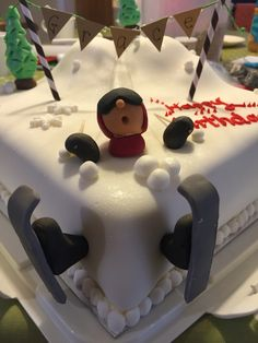 Ski slope birthday cake