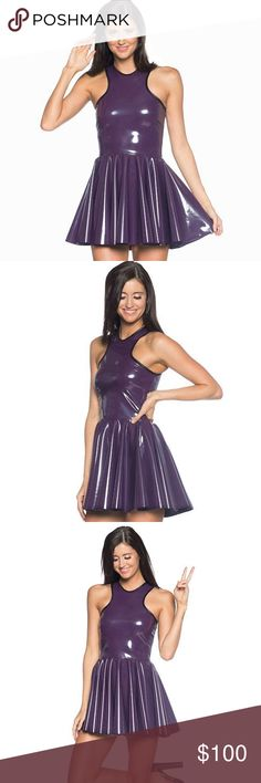 NWT BlackMilk Cosmic Cyber Grape PVC Dress Rare ✨ Brand new with tags!! Super cute!! Sold out Museum piece from Blackmilk Clothing Size Large  Purple PVC for when you need to be a little bit luxe and remind everyone that you are, in fact, royalty.  This little dress is the perfect party number, with a flouncy skirt and eye-catching racer top.  Composition: 80% Nylon, 20% Elastane • Cold hand wash only. DO NOT machine wash or iron. Blackmilk Dresses