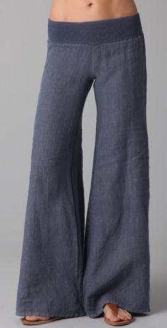 Enza Costa Linen Wide Leg Pants - I would LIVE in linen pants. Looks Style, Looks Cool, Style Me, Look Fashion, Womens Fashion, Fashion Pants, Fashion Models, Wide Leg Linen Pants, Wide Pants