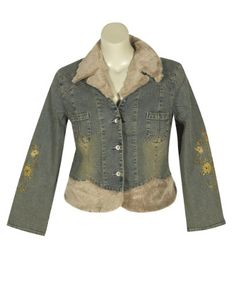 Plus Size Faux Fur Trim Denim Jacket --Size: 16 Color: Blue *** Check this awesome product by going to the link at the image.