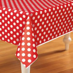 Red and White Dots Plastic Tablecover from BirthdayExpress.com