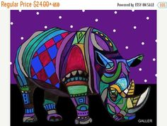 55% Off- Rhinoceros Art Rhino Art Print Poster by Heather Galler (HG802)