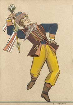Zofia Stryjenska - A man in a wedding folk costume from Silesia - table no. Folk Costume, Costumes, Number Graphic, Folk Clothing, Hand Coloring, Gouache, Vintage Antiques, Folk Art, Graphic Art
