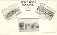 Little Rock College, Service, Science and Administration buildings   Little Rock College was established in 1908 by the Catholic Diocese of Little Rock by Bishop Morris as a way to anti-Catholic prejudice. The college closed in 1930. The campus is located on Tyler Street and is now home to the St. John Catholic Center. Arkansas State Archives G954.8