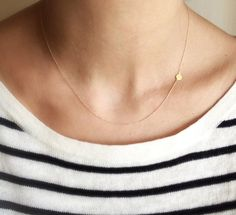 Asymmetrical Coin Necklace - 14k solid gold. Available in white and yellow.