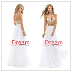 A-Line Sweetheart Floor-Length Beaded Bodice Chiffon Prom Dresses