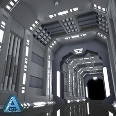 sci-fi corridor by AhearnART