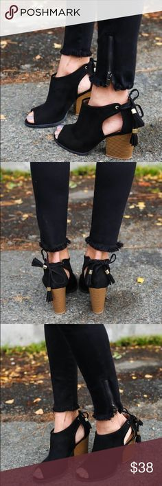 """Black cut out suede tassel lace up bootie The fab Style Suede Bootie features a peep toe silhouette, side cutout design with tassel lace tie closure and stacked block heel. Finished with a cushioned insole for all day comfort.  Heel Height: 3.5"""" Material: Vegan Suede (man-made) Sole: Rubber Shoes Ankle Boots & Booties"""