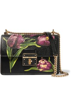 Dolce & Gabbana | Rosalia small floral-print textured-leather shoulder bag | NET-A-PORTER.COM