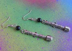 Doctor Who Sonic Screwdriver Charm Drop Earrings by Squirrelmade
