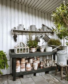 Awesome Potting Shed Interiors, 22 Awesome Potting Shed Interiors, 22 Awesome Potting Shed Interiors, Garten Garten Adorable Garden Shed Organisations Ideas For Garden Looks Modern 07 Potting table idea Garden Spaces, Garden Pots, Garden Sheds, Potting Station, Greenhouse Shed, Shed Interior, Potting Tables, Potting Sheds, Dream Garden