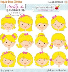 Create • a • Character Series: Blonde Girl Faces. This set comes with 12 girls faces featuring different hairstyles, all in the color: BLONDE. This set is a part of a SERIES of sets that allow you to MIX & MATCH different girls hairstyles and colors with various themed bodies doing activities. Look in our shop for corresponding Create • a • Character Sets!    Graphics are created in vector image software and are saved at High Quality 300 dpi Resolution. Image Size:    -Graphics will be 7…