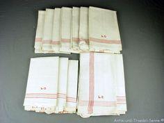 12 antike Handtücher Geschirrtücher bis 115x47 cm mit Monogramm L.O. xxA0021