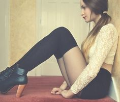 Fall: Thigh highs have the sex appeal of a school girl outfit Thigh High Socks, Thigh Highs, Knee Highs, Knee Socks, Looks Style, Style Me, Trendy Style, Le Jolie, Fashion Beauty