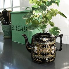Repurposed this lovely lidless teapot today. Isn't it a beauty?