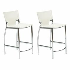 Euro Style White Counter Chair (Set of Two) - Overstock Shopping - Great Deals on Euro Style Bar Stools White Counter Stools, White Counters, Counter Height Bar Stools, Counter Chair, Island Stools, Leather Stool, Lowes Home Improvements, White Leather, Furniture
