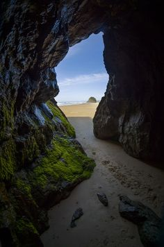 Sea Cave on Neskowin Beach, OR (Thomas Shahan) / hxr Oregon Road Trip, Oregon Travel, Travel Usa, Oregon Vacation, Beautiful Places To Visit, Oh The Places You'll Go, Places To Travel, Peaceful Places, Oregon Usa