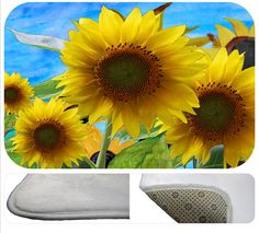 Summer sunflowers soft floor mat