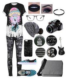 """""""Randomness #36"""" by gamergirl45723 ❤ liked on Polyvore featuring Dsquared2, WithChic, Vans, Skagen, Hot Topic, agnès b., Capelli New York and Nikon"""
