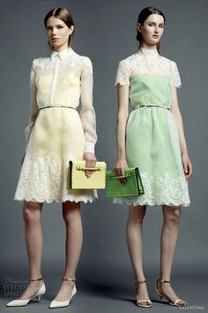 Valentino resort 2013 pastel lace short dress sleeves