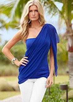 BLUE One shoulder drape top from VENUS  http://www.venus.com/viewproduct.aspx?BRANCH=351~4696~&ProductDisplayID=15854