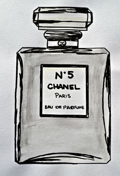 8 x 10 Gray and Black Hand painted Chanel No 5 watercolour illustration. Perfect for a gallery wall or on its own. Looks great in a bathroom.