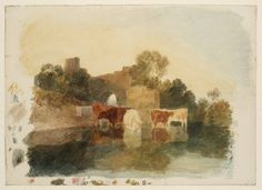 Joseph Mallord William Turner 'Cattle in Stream, with Ruins on Bank', c.1800–2  --  Gouache, graphite and watercolour on paper -  Dimensions Support: 556 x 768 mm -  Collection -  Tate