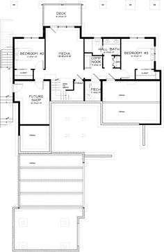 Contemporary Style House Plan - 3 Beds 2.5 Baths 2687 Sq/Ft Plan #895-8 Floor Plan - Lower Floor Plan - Houseplans.com