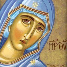 Theotokos Contemporary icon by Mariela Constantinidis