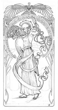 I love the crescent and owl for an Athena tattoo. Athena by Josh-Horn