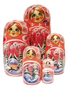 GreatRussianGifts.com - Evening 5-pc Nesting Doll Set In Pink, http://www.greatrussiangifts.com/evening-5-pc-nesting-doll-set-in-pink/