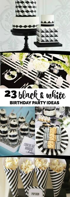 23 Black and White Party Ideas - - There are few things that compare to the classic look of a black and white party. To help you plan your own stylish soiree, we've put together an impressive list of 23 black and white party. Black And White Party Decorations, Black White Parties, All White Party, Black And White Theme, Adult Birthday Party, 40th Birthday Parties, Sweet 16 Birthday, Birthday Party Decorations, Cake Birthday
