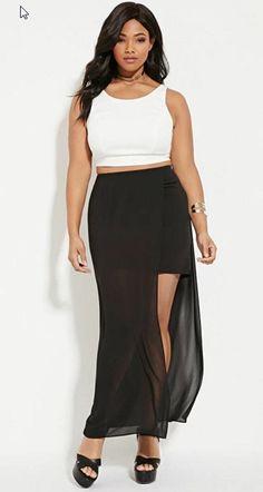 aba7aa3375eb0 Plus Size Mesh Overlay Midi Skirt