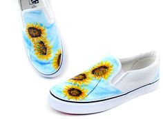 sunflower hand painted shoes