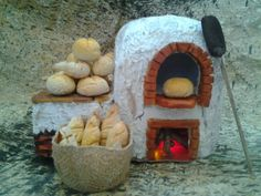 Miniature baking clay oven with breads Christmas Village Houses, Christmas Nativity Scene, Christmas Villages, Twig Furniture, Doll Furniture, Doll Beds, Fairy Garden Houses, Fairy Doors, Miniature Houses
