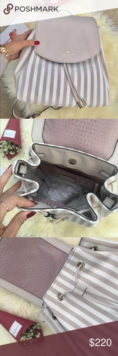 Kate Spade Nude Stripped Backpack Brand new with tags. Great bag for everyday use.  kate spade Bags Backpacks