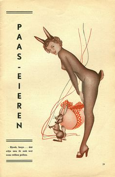"""Easter Bunny"" pin-up from a Dutch magazine, 1953"