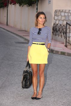 yellow skirt + striped tee