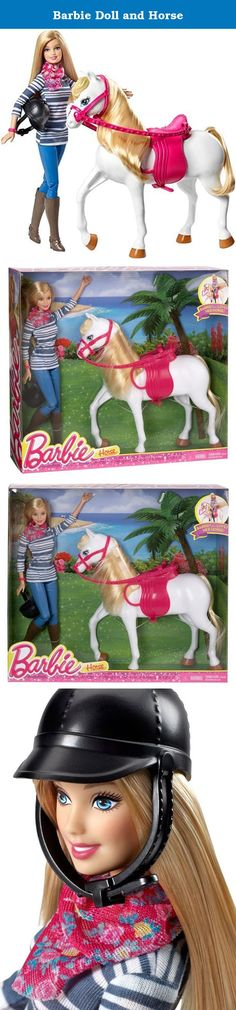 Barbie Doll and Horse. Girls can ride into adventure with Barbie doll and this pretty white horse. Style its beautiful blonde mane and tail and put on her bright pink reins and saddle to get her ready for imaginative horseplay. Looking ever so cute, Barbie doll fits on the saddle for a day of riding! She is positively pretty in an on-trend striped shirt and blue plastic pants accessorized with a floral scarf and pink bracelet. A black riding helmet and brown riding boots are the perfect...
