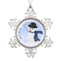 Snowman in the Wind Snowflake Ornament